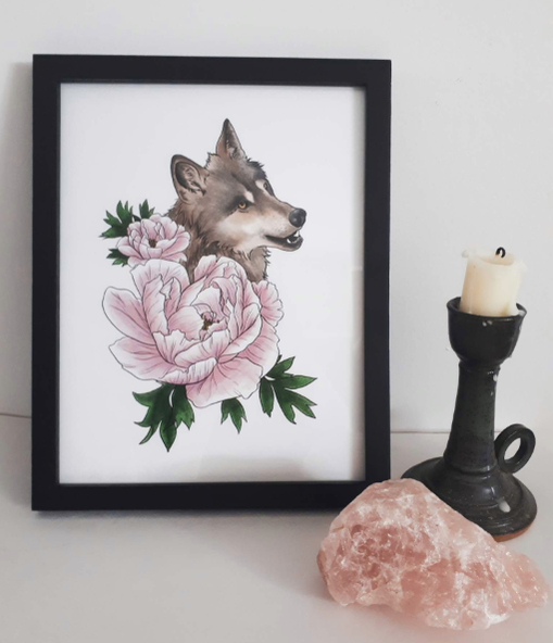 Wolf and Peony poster