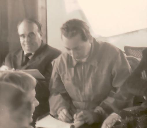 Amud Uwe Millies und Erwin Bowien beim Zeichnen in Locarno, 1957