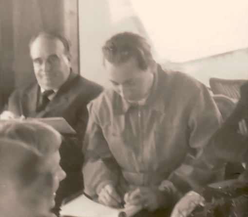 Amud Uwe Millies and Erwin Bowien drawing in Locarno, 1957