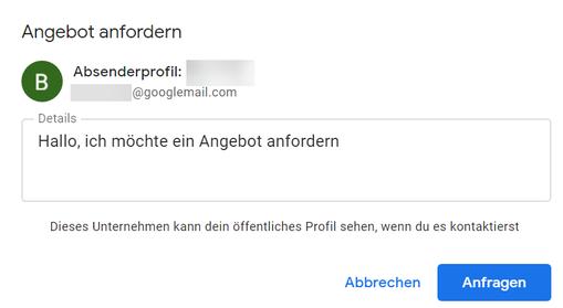 """Screenshot einer Anfrage über den Button """"Angebot anfordern"""" direkt in Google."""