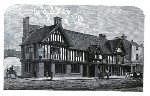 The only surviving timber-framed building in the City Centre, the Old Crown, Deritend - image from Toulmin Smith 1863 Memorials of Old Birmingham, public domain.