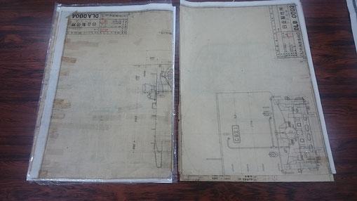 二つの組立図。B4版に折りたたまれて保管されていました。              [株式会社日立製作所 鉄道ビジネスユニット(以下日立)にて撮影]