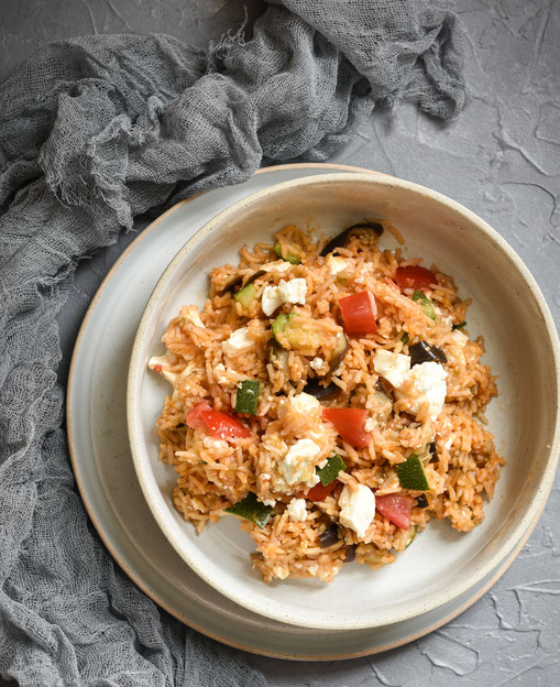 Zucchini Reis Topf mit Auberginen, Tomaten und Fetakäse, alternativ Tofu, ALL IN ONE Gericht für den Thermomix