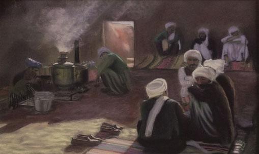 Afghanistan, Samawat ou maison du thé, pastel 49x32