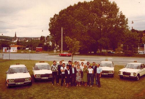 Belegschaft der Taxi Hartmann GmbH in den 1980er Jahre