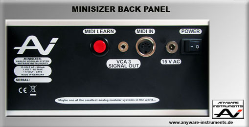 MINISIZER Back Panel & Conections