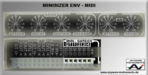 MINISIZER - ENV Section - 4 X Cv, 1X Gate Midi Interface Module