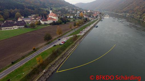 Feuerwehr; Blaulicht; BFKDO Schärding; Übung; Ölsperre; Donau;