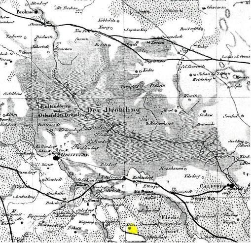Eine alte Karte aus dem Geogr. Inst. Weimar um 1808 u.a. sind die damaligen Poststrassen eingetragen.