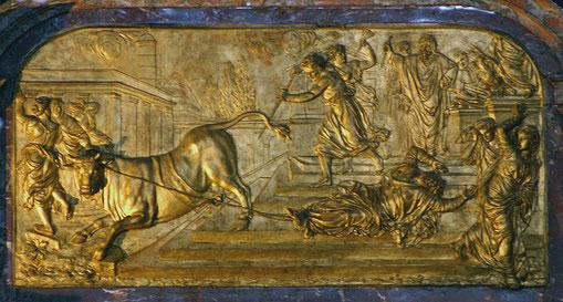 """Rétable de maître-autel """"Le martyre de Saint Saturnin"""" Église St Sernin à Toulouse."""