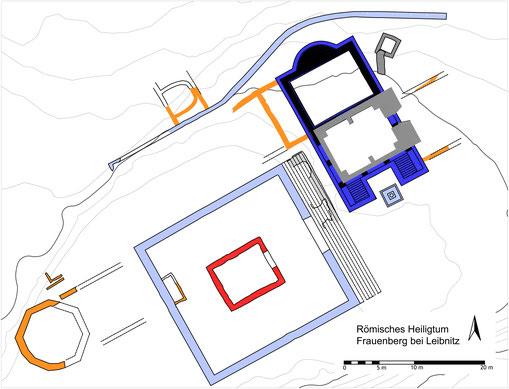 Abb. 3: Plan des obersten Plateaus am Frauenberg mit zwei römischen Kultbauten. Grafik: Bernhard Schrettle, ASIST.