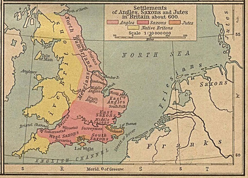 Settlements of Angles, Saxons and Jutes in Britain about 600 from William R Shepherd 1926 An Historical Atlas - Image in the public domain, courtesy of the University of Texas Libraries, University of Texas at Austin