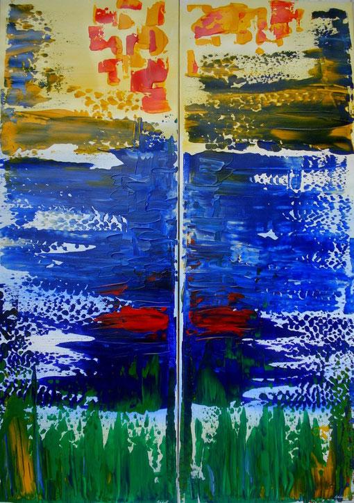Diptychon, Acryl auf Lwd., je 35x100, 2012  Nr.:12074-1, 12074-2