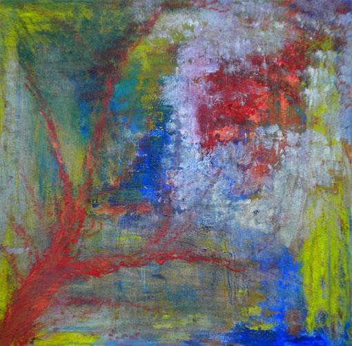 """""""Hinten, im Garten"""", Acryl auf Lwd., 50x50, 2008"""