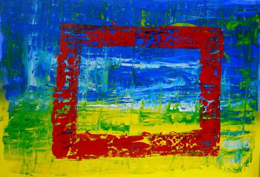 """""""Rotes Fenster"""", Acryl auf Lwd., 70x100, 2011  Nr.:11133"""