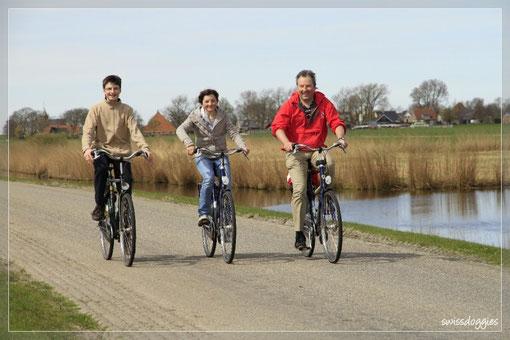 Wir haben uns Fahrräder gemietet und machen...