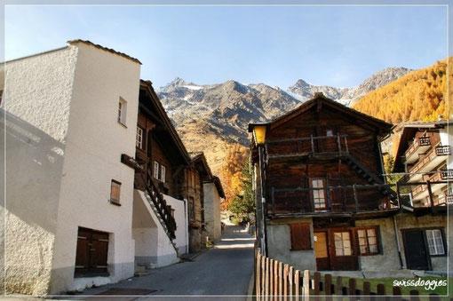 Durch verwinkelte Gassen ging's vorbei an urchigen Walliserhäusern hinaus aus dem Dorf.