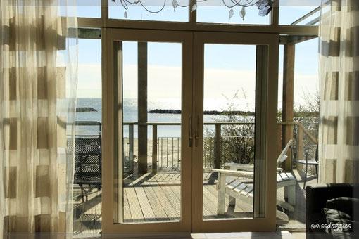 Ausblick vom Wohnzimmer auf's Meer