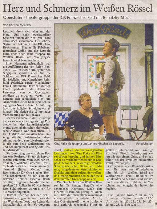 Braunschweiger Zeitung  20.Juni 2003