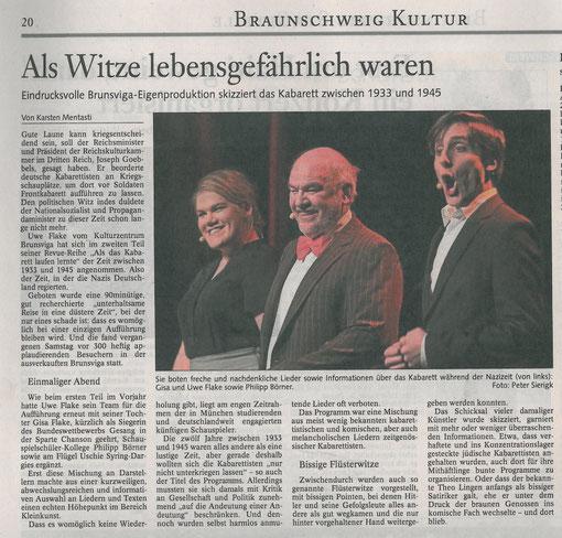 """""""Nur nicht unterkriegen lassen"""", Kritik Braunschweiger Zeitung vom 27.01.2010"""