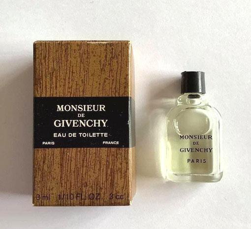 MONSIEUR DE GIVENCHY - EAU DE TOILETTE  3 ML - BOÎTE FACON BOIS - FLACON SERIGRAPHIE NOIRE, MINIATURE IDENTIQUE A LA PRECEDENTE