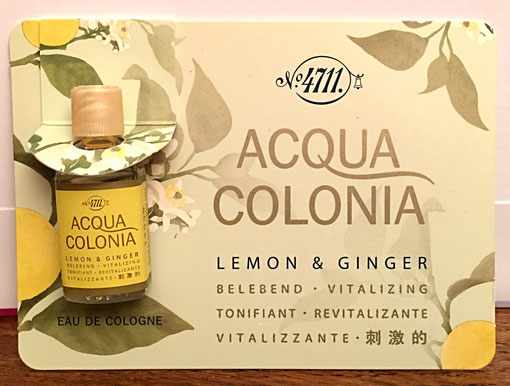 N° 4711 - ACQUA COLONIA - LEMON & GINGER : MINIATURE POSEE SUR UNE CARTONETTE
