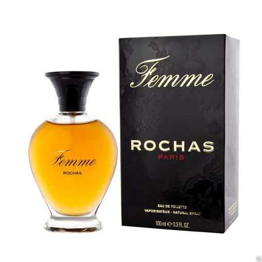 ROCHAS - FEMME : VAPORISATEUR EAU DE TOILETTE 100 ML - AVEC BOUCHON NOIR PLASTIQUE,  SERIGRAPHIE DOREE,  PRESENTATION ACTUELLE