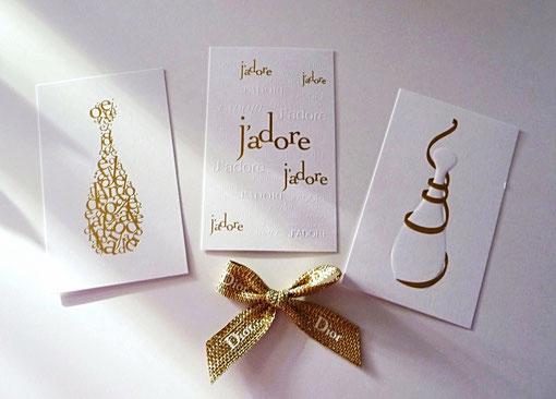 NOËL 2015 - LES 3 CARTES INSEREES DANS LE COFFRET J'ADORE CI-DESSUS