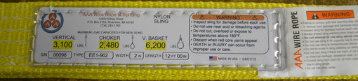 Our custom nylon slings come labeled for your safety.