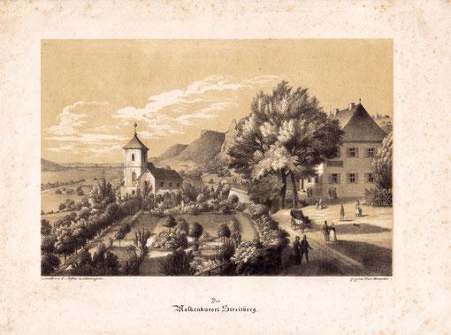 Kornacher stellt auch andere Orte und Gegenden dar, wie z.B. Molkereikurort Streitberg - Privatbesitz des Verfassers Gedruckt von O. Stößel in Schweinfurt. Gez. von Fried. Kornacher 15 x 22 cm - ca. 1850
