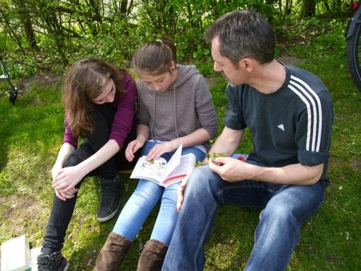 Lehrer Klaus_Sumowski mit zwei Schülerinnen beim Bestimmen einer Pflanze. Bild: Thomas Hoevelmann