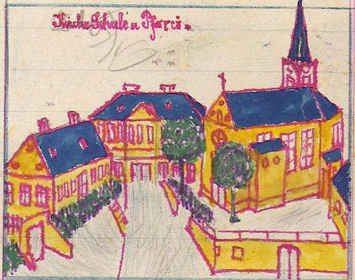 Zeichnung von Jakob Anger, Kirche, Schule, Pfarrei