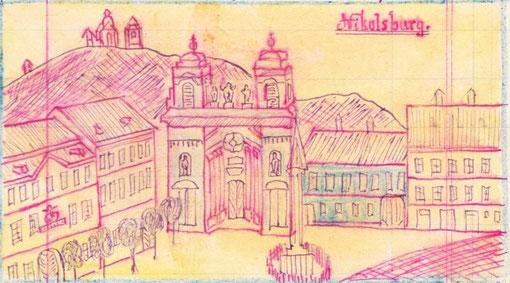 Nikolsburg Heiliger Berg, Gruftskirche und Pestsäule