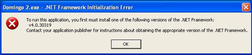 """""""To run this application, you first must install one of the following versions of the .NET Framework..."""""""