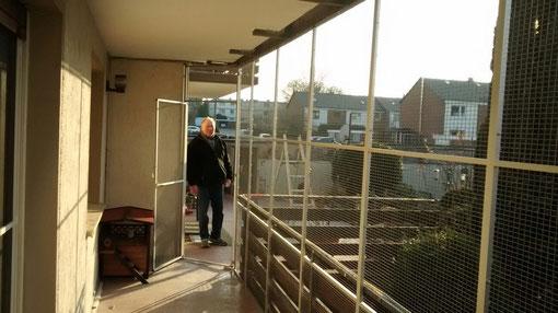 Katzengehege auf dem Balkon mit Tür seitlich 5 m lang, 2,50 hoch