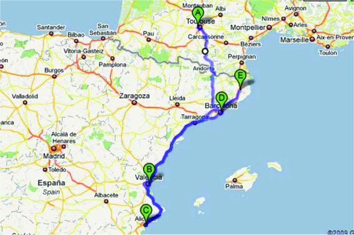 A=Colomiers B=Valencia C=Alicante D=Barcelona E=Girona