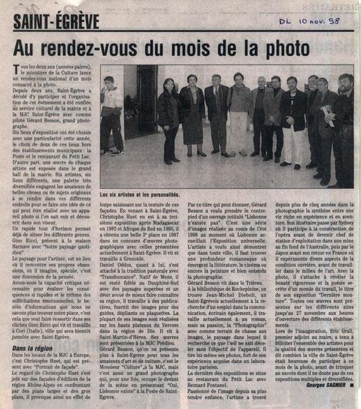 Dauphiné Libéré - 10 novembre 1998