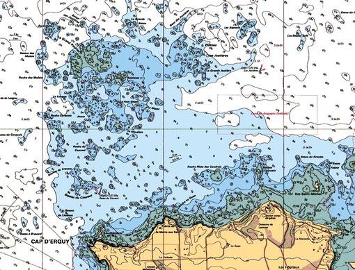 Le site du drame, le plateau du Rohinet devant le Cap d'Erquy (Carte marine SHOM 7310)