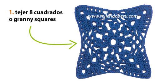 Almohadón con granny squares y tiras enrejadas tejido a crochet