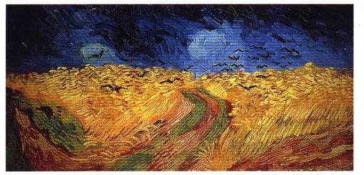 """Vincent van Gogh: """"Weizenfeld mit Krähen"""", entstand kurz bevor er sich um sein Leben brachte, Auvers-sur-Oise, Juli 1890"""