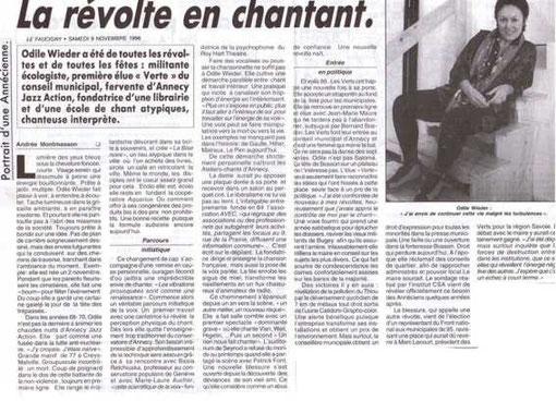 Article presse La révolte en chantant Odile Wieder