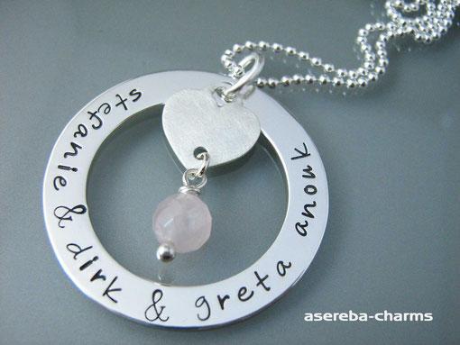 """personalisierte Silberkette """"Family-Circle groß"""" mit den Namen Ihrer Kinder + Herz und Rosenquarz"""