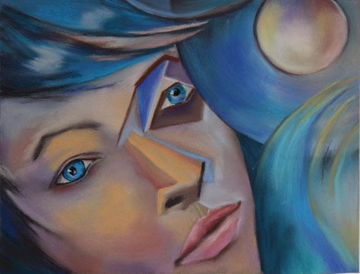 abstrahiertes Portrait gemalt