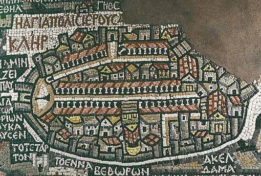 Carte de Madaba (Jordanie, VIème siècle) Représentation de Jérusalem à l'époque byzantine