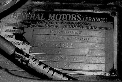 Zwar ein Chevrolett 1959 Corvette, aber von GM France