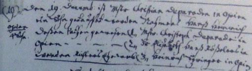Taufe Hans Heinrich Deparade *1697