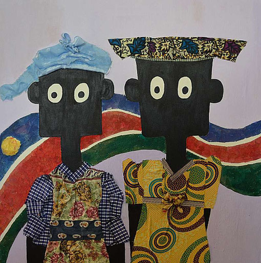 NALA und Alvina von Heather Erdmann, Windhoek, acrylic, paper, fabric on streched canvas, 70cm x 70cm