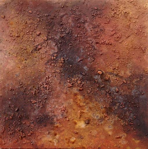 croûte 3, plâtre, pigments, encre de chine, liants, sel