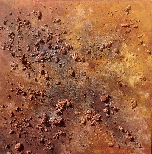 croûte 1, déchets de plâtre,pigments, liant, encre de chine, sel