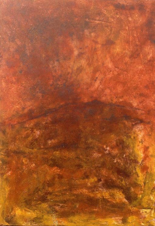 paysage radical, pigments minéraux et liants sur toile, 70*50